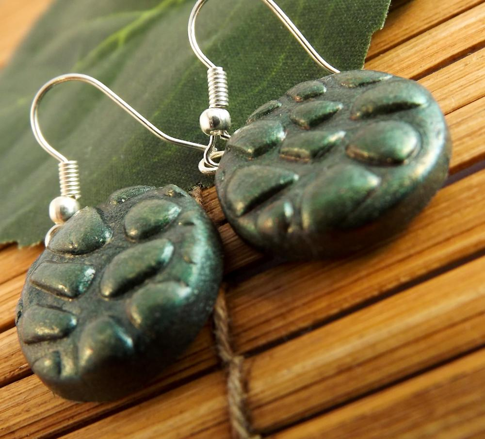 Opal green earrings, polymer clay, on silver plated earwires.