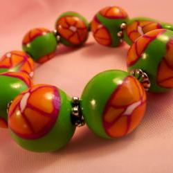 Polymer bangle bracelet, Stretchy polymer bangle, green, tangerine, orange, white. handmade.