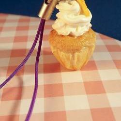 Polymer cupcake charm. Clay lemon cupcake charm for mobile phones etc.